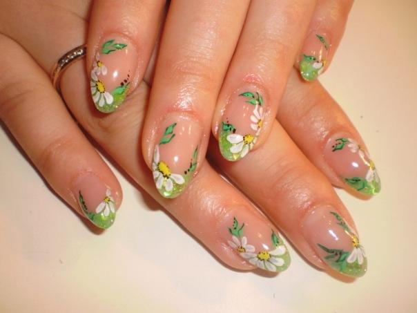 Весенний дизайн ногтей фото френч с рисунком